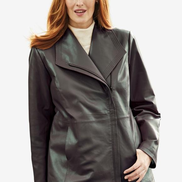 Jessica London Jackets & Blazers - NWT 18W Plus Size Genuine Leather Jacket